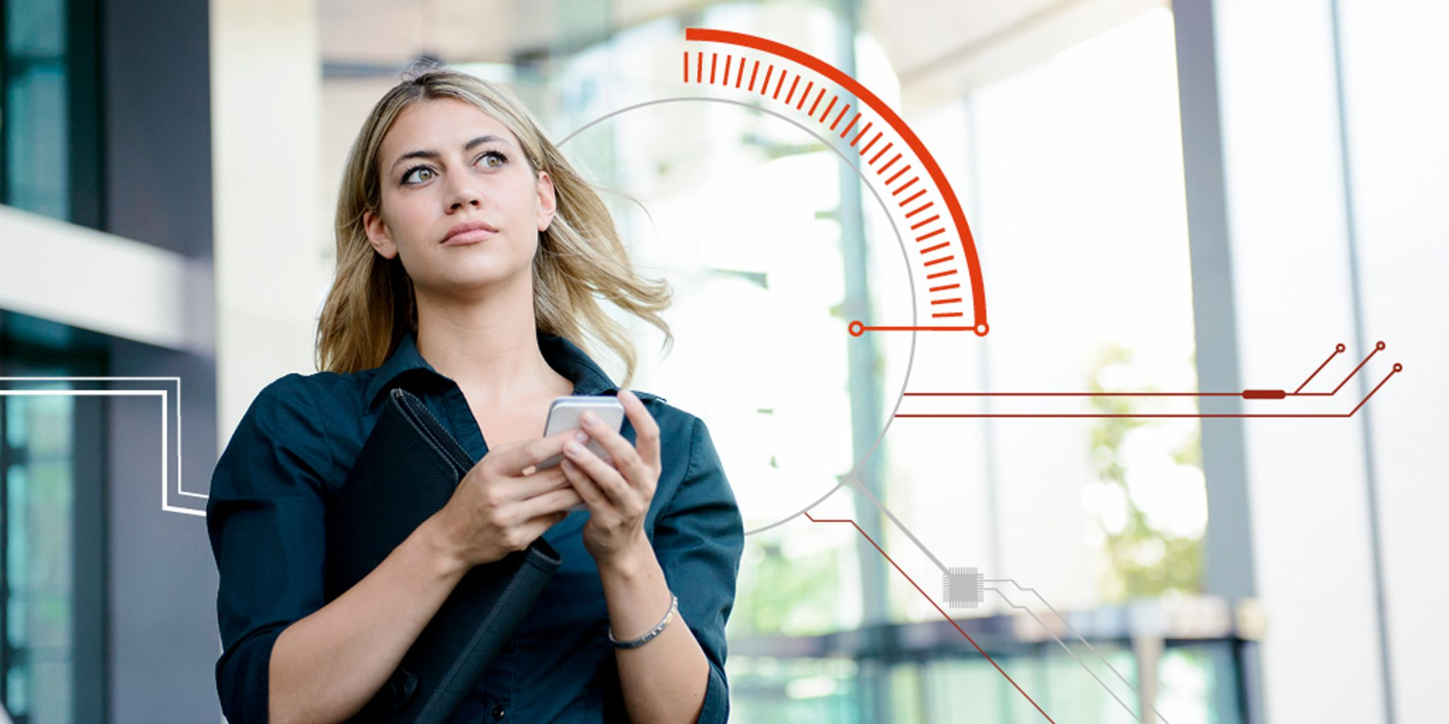 Digital trust: Young woman using her smartphone in front of a building.