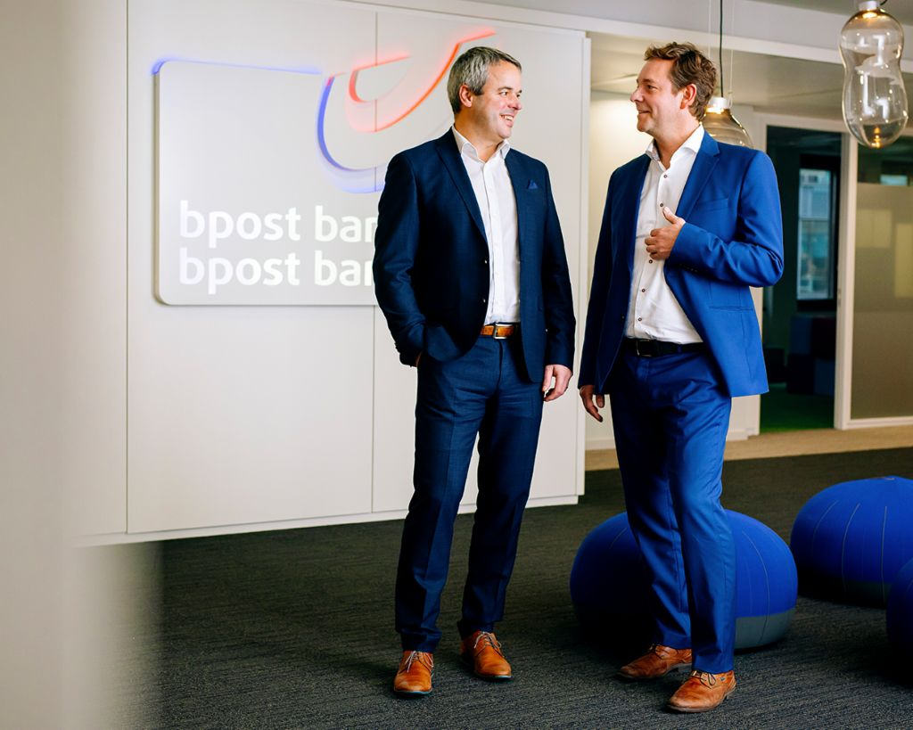 Ivan Demuynck and Roel Dumont at the Brussels headquarters of bpost bank.